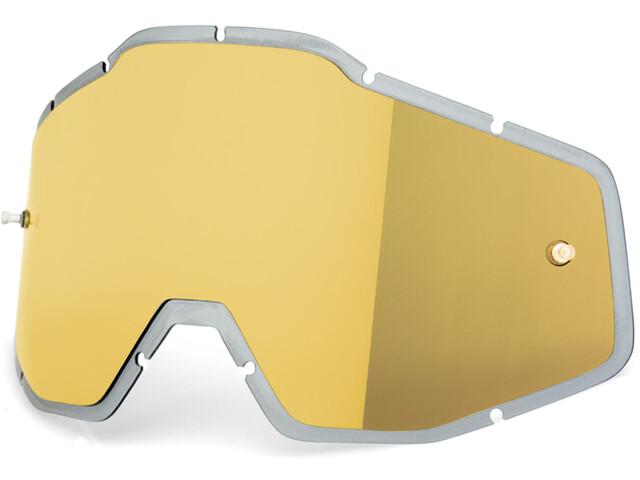 100% Mirror Anti-Fog F. Injected Lenses Racecraft/Accuri/Strata Gold